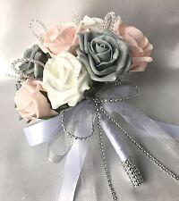 Novias, Posy, revertir ojales, Rosa, Gris, rosas blancas, flores artificiales boda