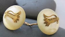 Vintage Earrings MOP Round Gold Design GF Converted Victorian Cuff Links .75""