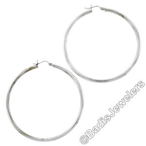 New Simple Solid 14K White Gold Large 51mm Plain Puffed Round Hoop Snap Earrings