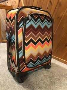 """NWT Missoni 21"""" Target Spinner Carry On Suitcase Zig Zag Chevron w/Accessories"""