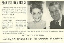 Sigmund Romberg Marie Nash Eric Mattson Rochester Ny 1940s ad sheet-