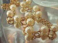 X Nice Gold Tone Chain With Large Faux Pearl Vintage 80's Classy Necklace 591a1