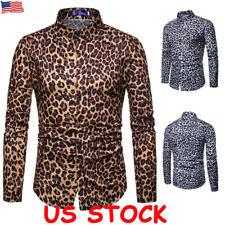 Mens Leopard print Long Sleeve Shirts Casual Slim Fit Cotton T Shirt Tops Blouse