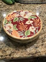 """Home Trends 8 3/4"""" Tropical Hibiscus Salad Plates Set of 4 - Multi Color Bamboo"""