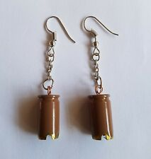 Handcrafted 9mm Bullet Shell Khaki Dangle Hanging Earrings Mothers Day Gift