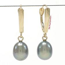 Blue Cultured Pearl Dangle Earring Tpj 14k Yellow Solid Gold Euro Back W/Shield;