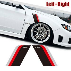2x Black Sport Side Door Fender Stickers Racing Decal Strip Car Accessories