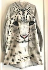 Girls H M Gray Dress w/ Leopard Cheetah Long Sleeve Organic Cotton 8 9 10