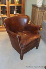 "27"" W Occasional Chair small Cigar vintage cigar Italian leather pure beauty"