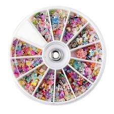Creative 1200pcs 1Wheel Mixed Colour Nail Art Tips Girls Crystal Manicure Kits