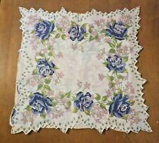 3 Vtg Ladies Handkerchiefs - 1 Crochet Edge -2 Screen Prints - Rose Motif