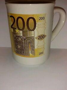 Collectible Tea Coffee Mug Cup Euro European Money 200 Euros Denomination - 8 oz