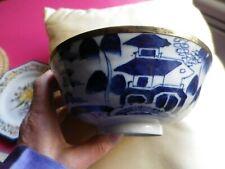grand bol porcelaine viet nam cerclé de laiton fin 19°   bleu de hué