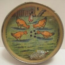 Old German Toy Dexterity Puzzle - Hen Picks up the Corn - Girl feeding Chickens