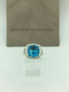 David Yurman Sterling Silver Albion Ring 11mm with Blue Topaz & Diamonds Size 6