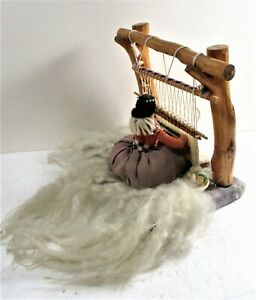 NAVAJO BLANKET WEAVER DOLL, VIGNETTE, WOMAN AT LOOM WITH BABY IN BACK CARRIER
