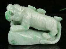 Cert'd Nature Green Grade A jadeite Jade Statue Sculpture tiger 虎 r483442