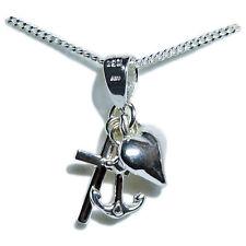 Halskette Silber 925 Liebe Glaube Hoffnung Anhänger + Kette m. Stempel