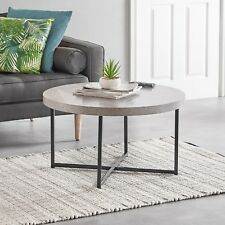 VonHaus Concrete-Look Round Coffee Table Modern Lightweight Contemporary Style