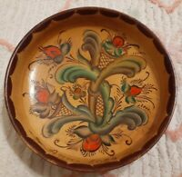 Beautiful Vintage Folk Art Hand Painted  Wooden Bowl Signed 1985