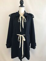 J.crew Navy White Trim Trench Coat Jacket W/Belted Sz 6 Sample Item