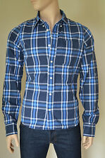 NEW Abercrombie & Fitch Cooper Kiln Shirt Navy Blue Plaid Check M RRP £82