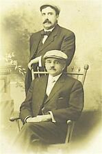RPPC: DAPPER MEN FRIENDS w MUSTACHES wearing CAPS