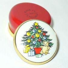 CRUMMLES ENGLISH ENAMEL BOX - VINTAGE CHRISTMAS TREE & TEDDY BEAR & PRESENTS