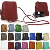 Womens Vera Pelle Mini Genuine Soft Italian Leather Shoulder Cross Body Handbag