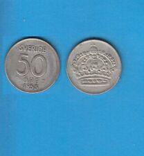 § Suède Sweden  Silver Coin 50 öre en Argent 1955