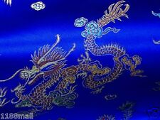 "55""w Asian Chinese dragon brocade fabric cloth material royal blue by meters"