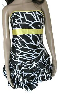 JESSICA MCCLINTOCK 5 Jr Strapless Formal Dress Black White Yellow Prom Print USA