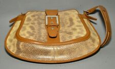 New listing Tod's Shoulder Bag Purse - Reptile Print on Cream w/ Saddle Brown Trim & Buckle