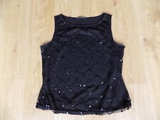 George Black Sleeveless Top Size 12 Mesh with Sequinned Front