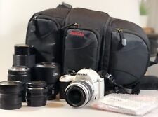 Used Pentax KX White DSLR Camera With 6 Lenses, Instructions & Bag