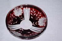 Ruby Red Cased Glass Cut to Clear Roses Nut Candy Dish Bohemian Czech Bowl