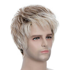 Men Pixie Cut Mix Color Short Human Hair Cosplay Party Hair Wig Full Wigs