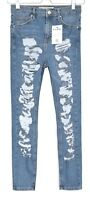 Topshop SUPER SKINNY JAMIE High Rise Blue RIPPED Stretch Ankle Jeans 10 W28 L30