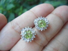 Natural PERIDOT & White Cubic Zirconia Stones Sterling 925 Silver EARRINGS