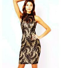 LIPSY FROM NEXT BLACK & GOLD LACE LACE DRESS SIZE 6 - 8 BNWT