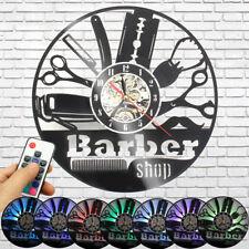 Barber Shop Decor Retro Vinyl Record Wall Clock LED 7 Color Change Art Gift Home