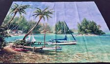 "Island Cove Sailboat & Palm Trees 90""W x 70""L Grande Tapestry Wall Hanging"