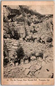 "1900s YOSEMITE NATIONAL PARK Postcard ""Up the Zigzags, near Nevada Fall"" UNUSED"