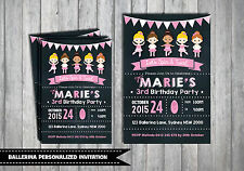 BALLET Personalised Invitations Girls Birthday Ballerina Party Pink Chalkboard