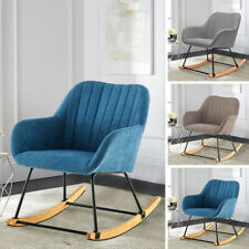 Fabric Upholstered Recliner Rocking Chair Relax Lounge Sofa Armchair Oyster Back