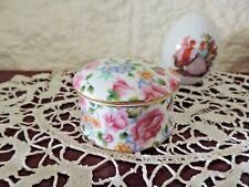 Pretty Chintz Porcelain *Michelle* Round Trinket Box by *Two's Company* ExC