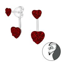 Sterling Silver Red Crystal Stud Earrings with Ear Jacket Hearts Anti-Tarnish