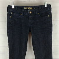 EXPRESS Stella womens size 2 stretch blue dark wash barely bootcut jeans in EUC