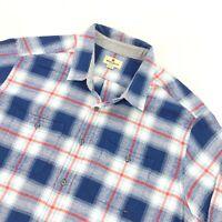 Woolrich Men's Flannel Long Sleeve Button Shirt Blue Red White Plaid • 2XL