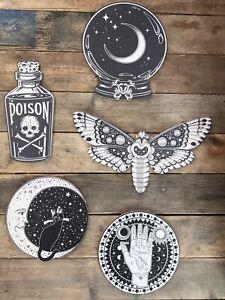 Set Of 5x Halloween Potion Clairvoyant Magic Moth Cat Decorations Props HW